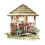 Coloured sketch of 2.5 metre thatched roof gazebo