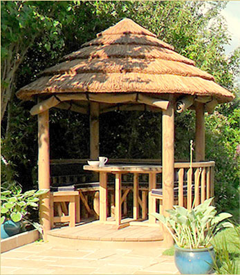 2.5 metre thatched gazebo at the end of patio