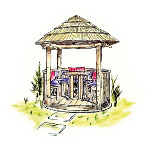 Coloured sketch of 2 metre thatched gazebo