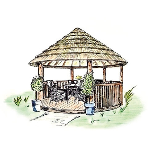Coloured sketch of 3.5 metre thatched gazebo