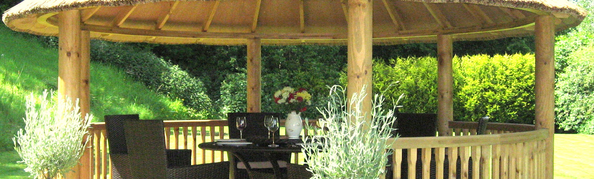 Close up of 3.5 metre gazebo inside with furniture