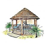 coloured sketch of 3 metre thatched roof gazebo