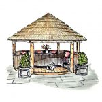 Coloured sketch of 4 metre thatched gazebo