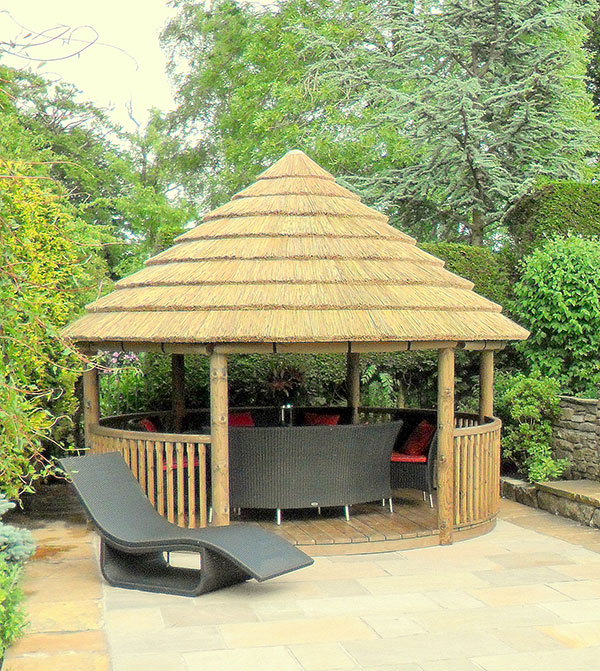 4 metre spindle house on patio