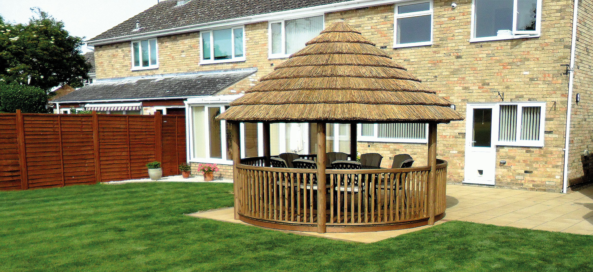 4 metre gazebo on garden patio of semi detached house