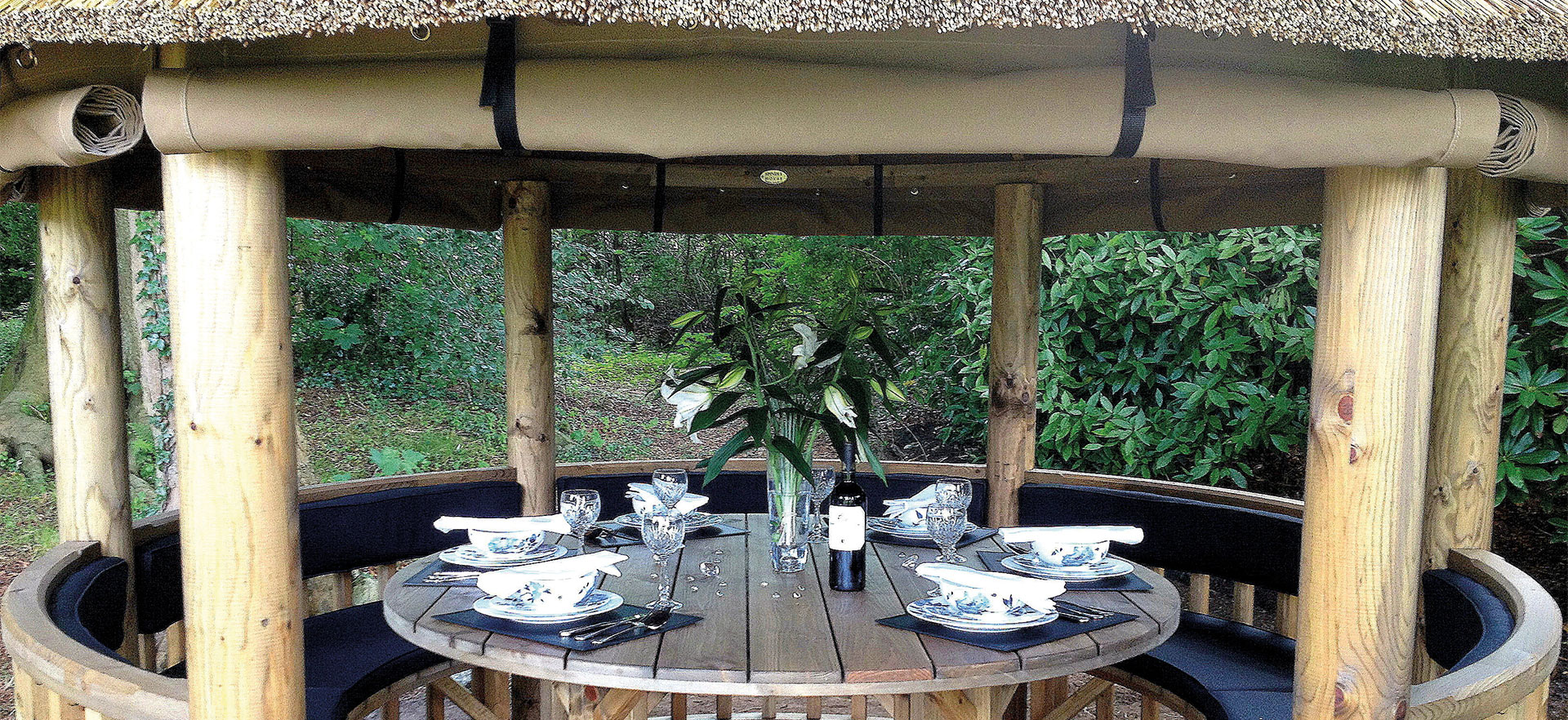 3 metre gazebo close up with rolled up canvas side panels