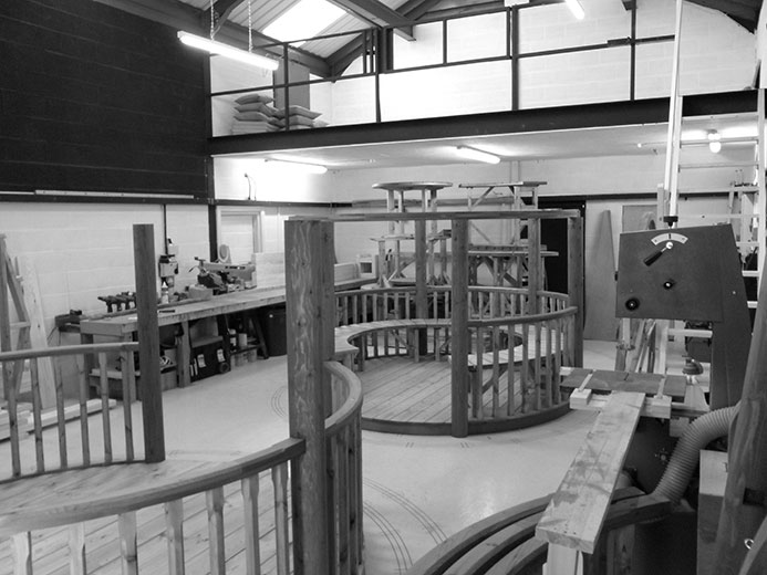 Black and white image of inside the gazebo workshop