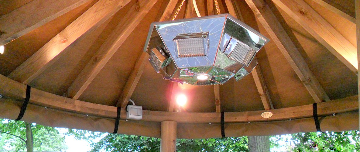 Inside thatched gazebo looking up at large pendant heater